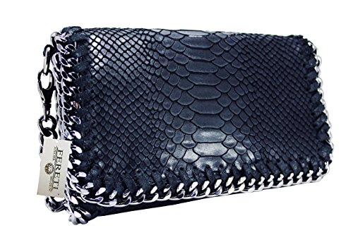 FERETI borsa di rettili serpente blu scuro a tracolla con catena vera pelle
