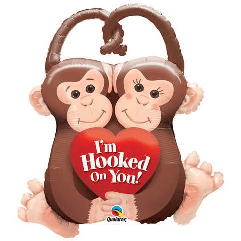 "33"" Monkeys I'm Hooked On You Helium Shape (1 per package)"
