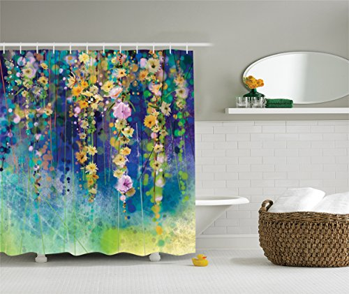 Ambesonne Watercolor Flower Artistic Designer Shower Curtain Decor Collection, Ivies and Vines Flowers