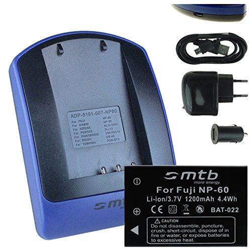 Batteria + Caricabatteria (USB/Auto/Corrente) NP-60 per Fuji / NP-30 per Casio / + autres, - v. lista