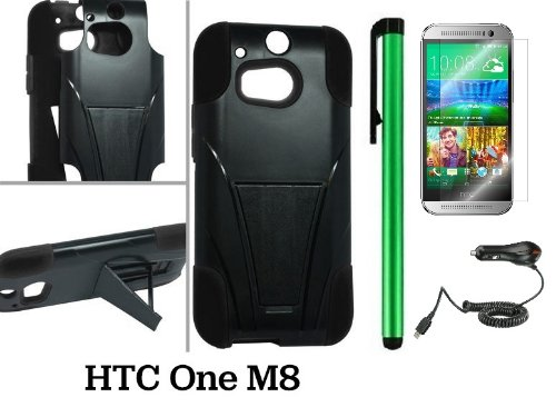 Htc One M8 Premium Heavy- Duty Kickstand Design Protector Hard Cover Case (For 2014 Htc New Flagship Android Phone) + Car Charger + Screen Protector Film + Car Charger + 1 Of New Assorted Color Metal Stylus Touch Screen Pen (Black / Black)