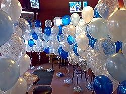 Frozen Theme Balloons-2 metallic blue, white and transparent Happy Birthday printed - 30 pcs