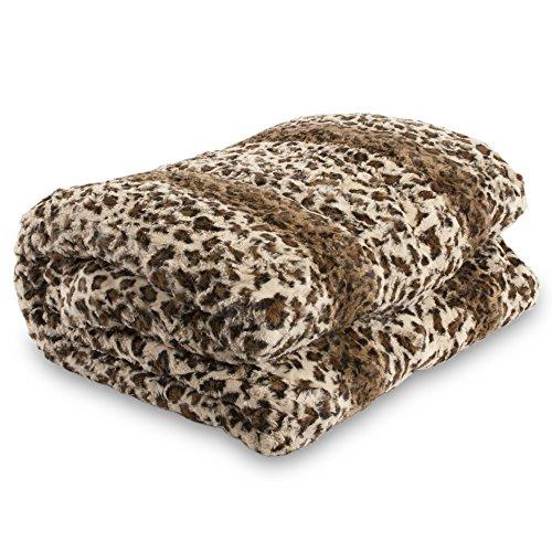 Safari Faux Fur Plush Throw Blanket Comforter - Leopard (82.6'' X 90.5'' King) Ak605