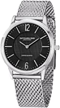 Stuhrling Original Classic Somerset Elite Men's Quartz Watch with Black Dial Analogue Display and Silver Stainless Steel Bracelet 122.33111
