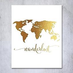 Digibuddha 8-Inch-by-10-Inch Wanderlust World Map Gold Foil Art Print Metallic Wall Decor
