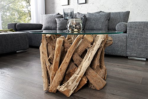 Design Couchtisch NATURE LOUNGE Teakholz Mit Runder Glasplatte Beistelltisch