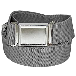 Jackster Kid\'s Elastic Adjustable One Size Belt w/ Magnetic Metal Buckle (Grey)