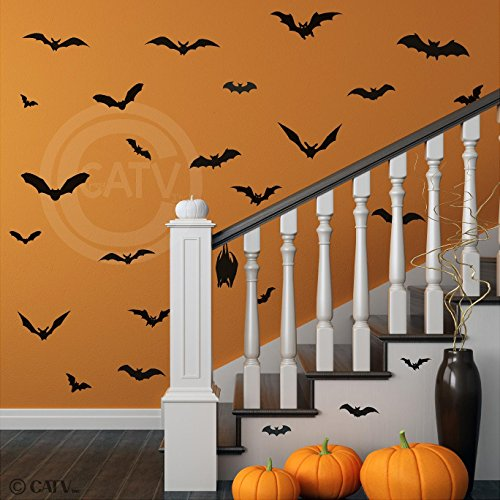 Halloween Bats set of 28 vinyl lettering decal home decor wall art sticker