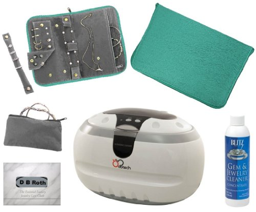 Db-Tech Professional Ultrasonic Jewelry Cleaning Machine + Teal Anti-Tarnish Jewelry Organizer + 8Oz Concentrate Jewelry & Gem Cleaner + Db Roth 100% Cotton Flannel All-In-One Jewelry Cleaning, Buffing & Tarnish Shielding Cloth