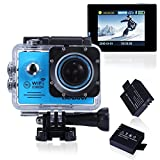 Sports Action Camera,Canany Wifi Underwater Video Camera 1080P FHD 12MP 2.0Inch Bundle With 2 Batteries and FREE Accessories Kits CY6000 (Blue)