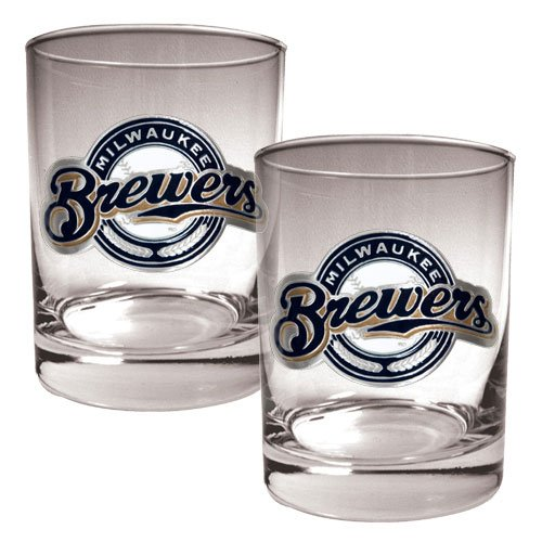 Mlb Milwaukee Brewers Two Piece Rocks Glass Set - Primary Logo front-607714