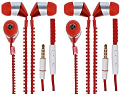 JIYANSHI combo of stylish zipper earphone red Compatible with Micromax Canvas Amaze 4G Q491