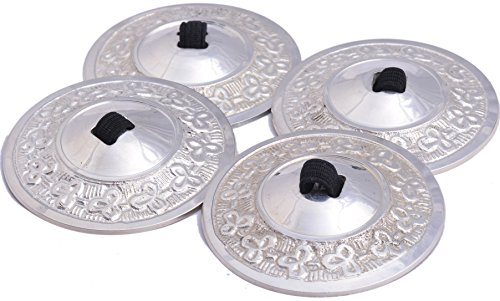 Wevez Women's 2 Pairs of Belly Dancing Finger Cymbal Zills, One Size, Silver