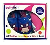 Dotty Fish Leather Baby Shoes Girls Owl design Gift Boxed with two Bandana Bibs 0-6 mths