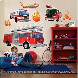 Feuerwehr riesen xxl wandtattoo set mega feuerwehrauto wandsticker k che haushalt - Wandsticker feuerwehr ...