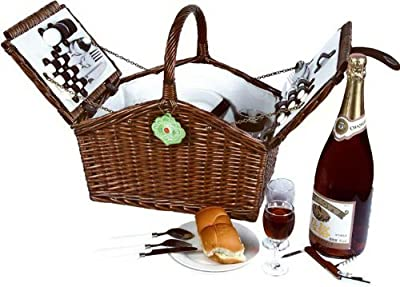 Vivo © English Willow Handmade Picnic Hamper Basket for 4 person / people with Cutlery Glasses Knife Forks Ceramic Plates Corkscrew Salt & Pepper