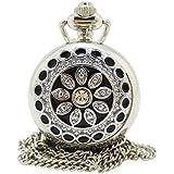 [モノジー] MONOZY ネックレス 時計 - 花宝石 フルハンター - 鏡付き ペンダント ウォッチ アンティーク 懐中時計 収納袋 おしゃれ ふた付き ネックレス時計
