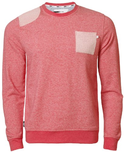 Mens Sweatshirt Top D Code ID 2480 Casual Jumper Crew Neck Marl Effect, Red Marl, Medium