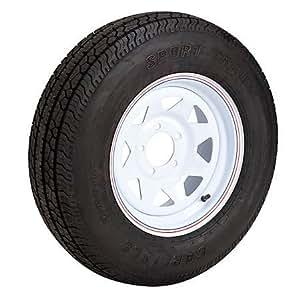Carlisle Radial Trail Trailer Tires White Spoke Rim 5 Lugs 175/80R x 13
