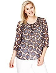 Plus Front Tie Paisley Print Blouse