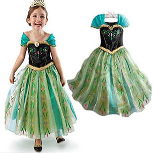 Anna Costume Disney Frozen Inspired Coronation Dress Girls Kid Halloween 3T-10Y