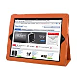 TeckNet® New iPad 4, iPad 3 & iPad 2 Premium Folio Leather Case / Cover and Flip Stand With Built-in Magnet for Sleep / Wake Feature + Screen Protector For New Apple iPad 4th Generation, iPad 3 & iPad 2 - Orange