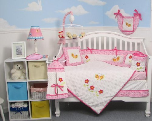 Boutique Butterflies Garden 10pcs Baby Crib Bedding Set