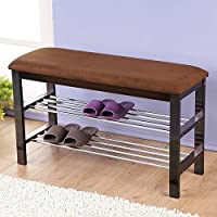 Roundhill Furniture Wood Shoe Bench with Chocolate Microfiber Seat (Dark Espresso)