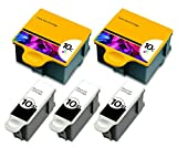 HouseOfToners Compatible Ink Cartridge Replacements for Kodak #10XL Black & #10 Color (3 Black, 2 Color, 5-Pack)