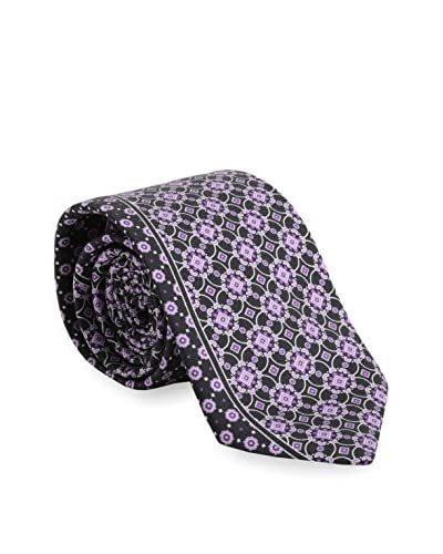 Brioni Men's Medallion and Dot Tie, Purple