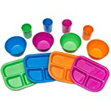 Kids Plates, Bowls, Cups, Dinnerware Set, 12 Pieces, Assorted Colors ...