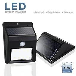 eTopLighting LED Solar Power Outdoor Wall Light Black with PIR Motion Sensor, Night Sensor, Water Proof, Heat Proof, Solar Panel, High Light, Dim Light, AGG2000