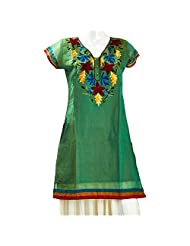 Camie Women's Cross Colour Chanderi Green Straight Kurti
