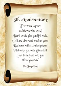 5th Anniversary Personalised Poem Gift Print: Amazon.co.uk: Kitchen ...