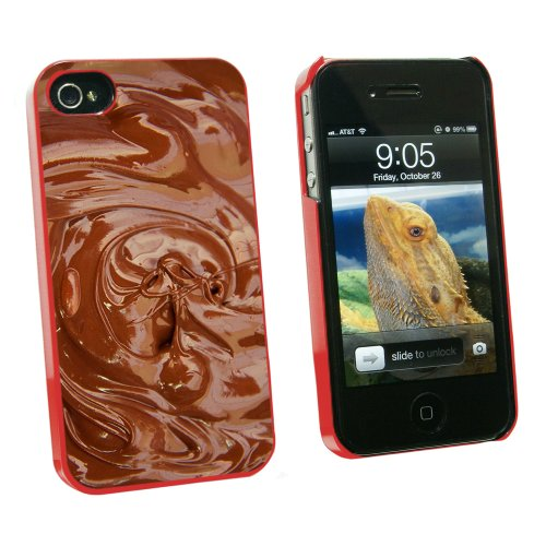 Chocolate Melted - Chocoholic - Snap On Hard Protective Case for Apple iPhone 4 4S - Red
