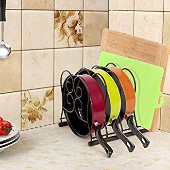 SONGMICS Pan Organizer Rack Holder for Kitchen Cabinet Pantry Frying Pan & Skillet Storage Brown UKPR01K