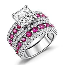 buy Asscher Cut Bridal Ring Sets, Caperci Created-Ruby & Cz Cubic Zirconia Asscher-Cut Wedding Engagement Ring Set Size 5