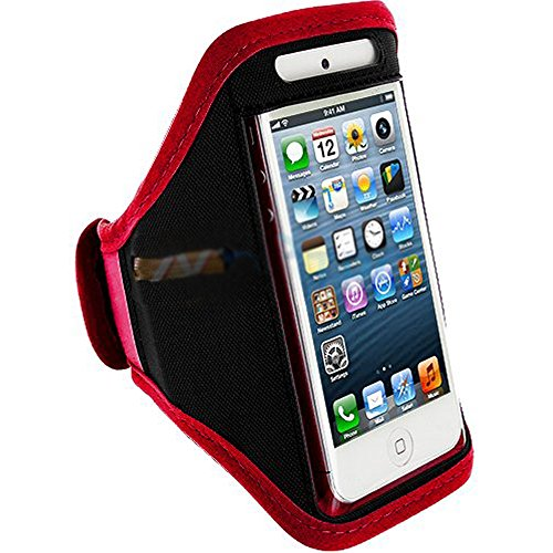 Mylife (Tm) Red + Black Velcro Strap (Light Weight Flexible Neoprene + Secure Running Armband) For Apple Iphone 5C, 5S And 5 (5G) 5Th Generation Itouch Phone (Universal One Size Fits All + Velcro Secured + Adjustable Length + Pu Leather Trim + Sealed Insi