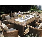 Sitzgruppe Garten Garnitur Tisch und 6 Sessel / Stühle Rattan Polyrattan Geflecht Gartenmöbel natur-beige-braun...