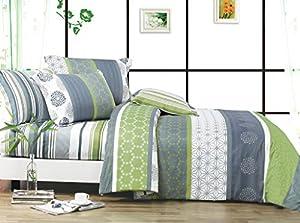 Serene 3pc 100% Cotton Duvet Cover Set : Duvet Cover and Two Matching Shams (King)