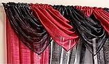 Casablanca Plain Wine Red Swag Sparkle Glitter Bling Pelmet Swag Beaded Tassel Valance Drapes Voile Net Window Decor