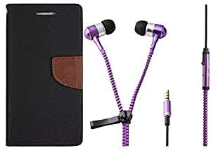 Novo Style Book Style Folio Wallet Case Nokia Lumia 630 Black + Zipper Earphones/Hands free With Mic 3.5mm jack