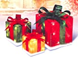 3-Piece Glistening Gift Box Lighted Christmas Yard Art Decoration Set