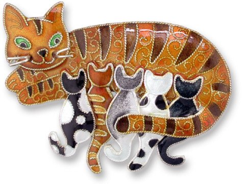 Kitty Cats Sterling Silver and Enamel Pin by Zarah