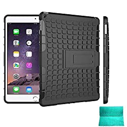 iPad Air 2 Case,Moment Dextrad [Non-Slip][Perfect Fit][Stand Feature] Dual Layer Armor Defender Full-body Rugged Hybrid Protective Case Cover for Apple iPad Air 2 Tablet (Black)