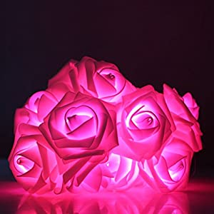 Your Supermart 2M 20LED Rose Flower Fairy String Light Wedding Party Christmas Pink