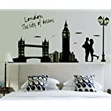 Shining Decors Creative Couple Tower Bridge Glow In The Dark Luminous Home Decoration Wall Stickers Living Room Bedroom Wall Decals Sticker For Home Decoration, Home Decor, Interior Designing & Wall Decal