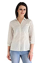 ZAIRE Women's Fashionable Polka Dotted 3/4 Sleeves Cotton Top (2269-3/4TH,White,L)