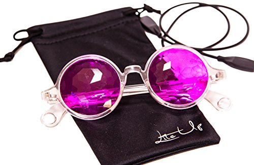 """Lite Up Kaleidoscope Real Crystal Flat Back Prism Glasses"" For Parties, Raves, EDM, Festivals, And Designer Fashion. Many Color Varieties To Choose From With Power Portal Effects. (Clear Kaleidoscope Flat Back, Magenta)"