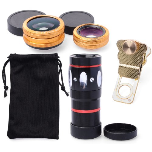 Xcsource® 4In1 Phone Lens 10X Telescope + Wide Angle Macro + Fish Eye Lens Golden For Iphone 3G / 3Gs / 4G / 4S / 5 / 5G / 5C / 5S / 6 Samsung Galaxy S2 I9100 Sii / S3 I9300 / S4 I9500 / Note 2 N7100 / Note3 N9005 N9000 / S5 V I9600 Ipad / Ipod / Ipad Air